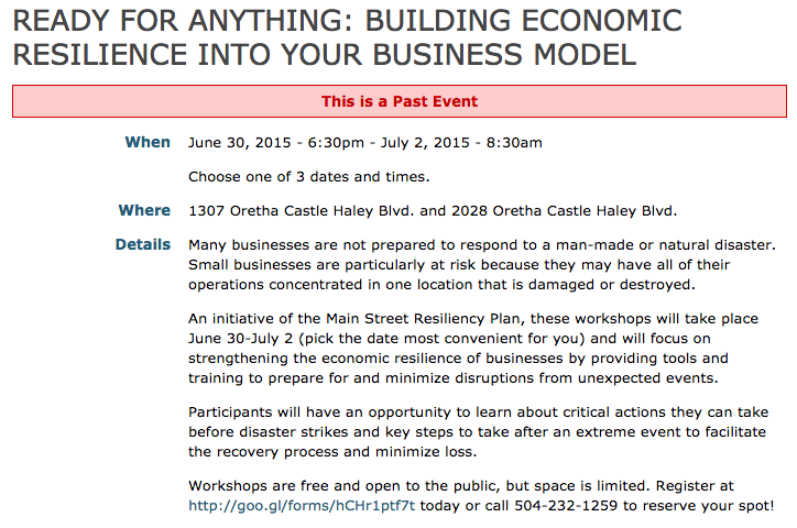 Screenshot of business resiliency training seminar info.