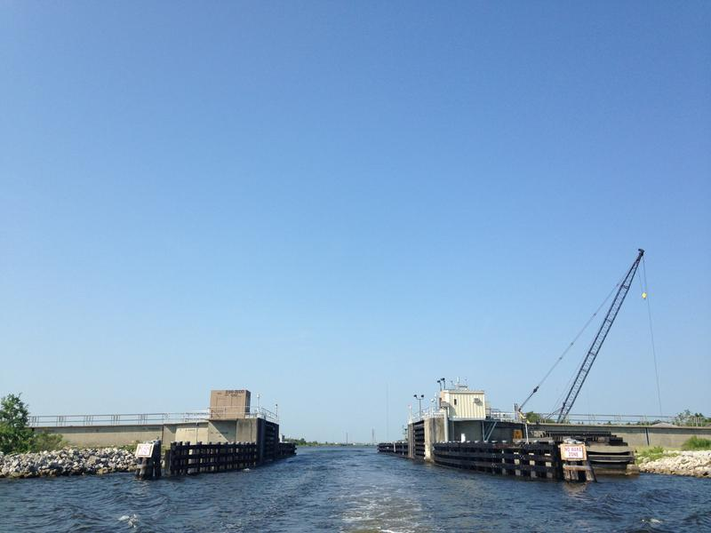A sea vessel gate at the Inner Harbor Navigation Canal Surge Barrier in St. Bernard Parish.