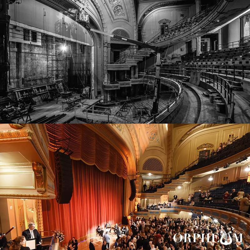 A before-and-after look at the Orpheum Theater, which was damaged and shuttered by Hurricane Katrina's floodwaters.