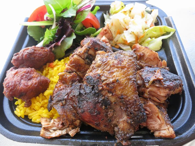 Jerk chicken from Coco Hut, a Caribbean restaurant in New Orleans with a bold way with spice.