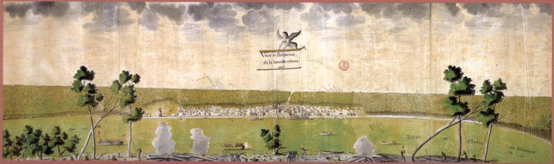 A 1726 view of New Orleans from across the Mississippi River.