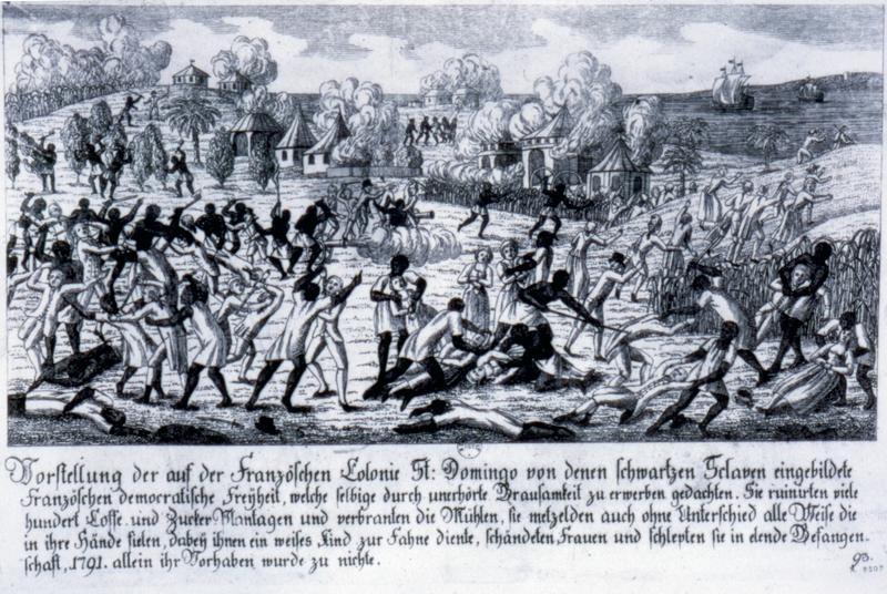 Rendition of the slave revolt, Colony of Santo Domingo.