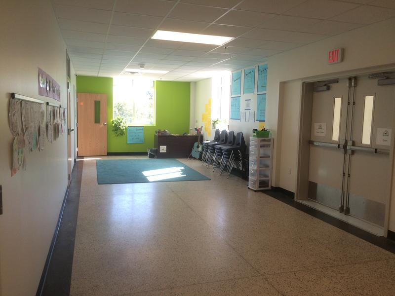 The new Encore Academy building has wide, colorful hallways and lots of natural light.