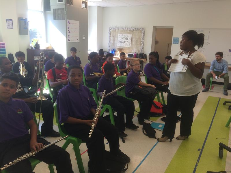 Encore Academy students prepare for music class. The new campus will eventually include an arts annex.