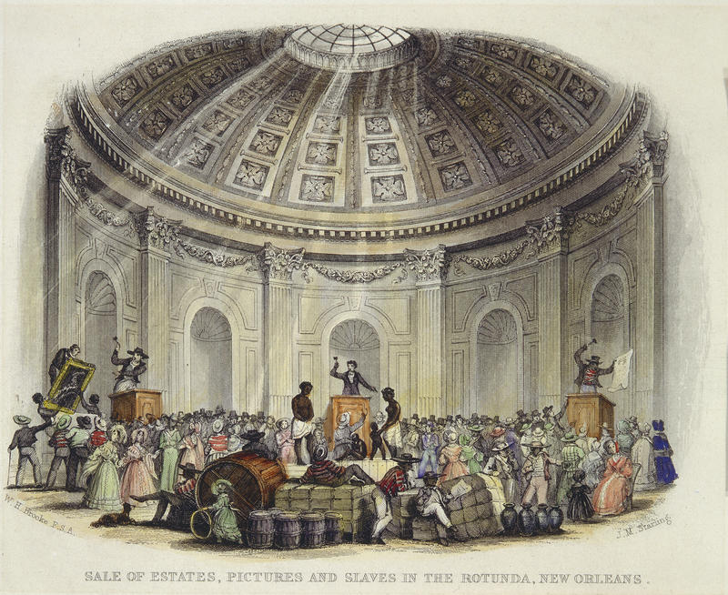 Sale of Estates, Pictures and Slaves in the Rotunda, New Orleans; by William Henry Brooke, engraver; engraving with watercolor from The Slave States of America, vol. 1; London: Fisher and Son, 1842