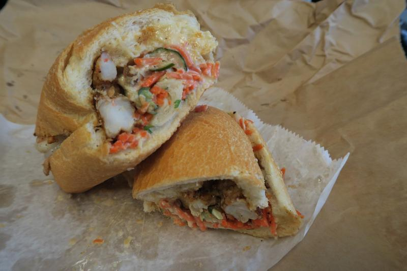 Grilled shrimp with crunchy vegetables makes for a modern po-boy from Killer PoBoys in the French Quarter