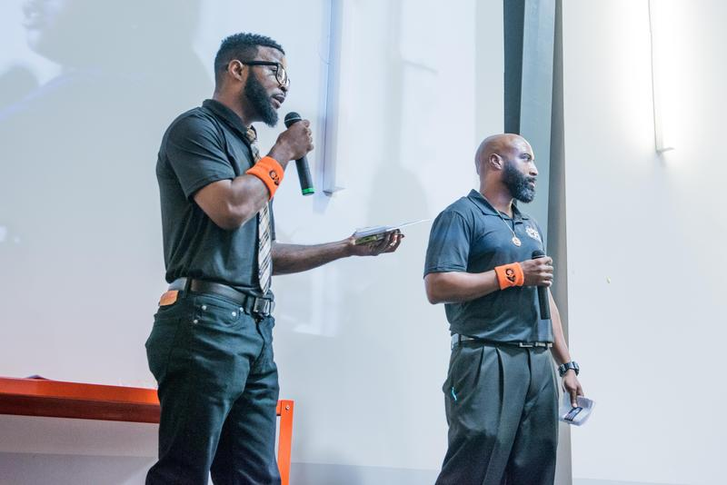 Jerome Morgan and Daniel Rideau pitch their idea for RAE Grooming Barbership, a barbering and grooming apprenticeship program intended to keep youth out of the juvenile justice system. They tied for first place at a recent PitchNOLA competition.