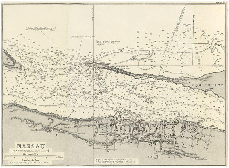 A 19th century map of Nassau, Bahamas.