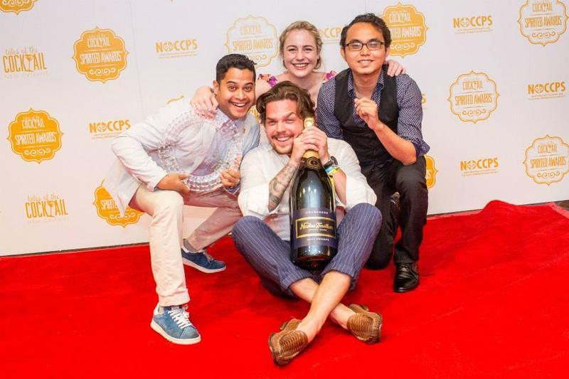 "Zdenek Kastanek (center) with fellow 28 Hong Kong Street employees after being awarded ""Best International Bar Team"" at the 2015 Tales of the Cocktail Spirited Awards."