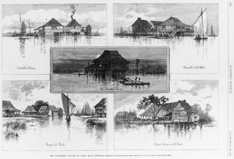 Image of the St. Malo Maroon community from an 1883 edition of Harper's Weekly.