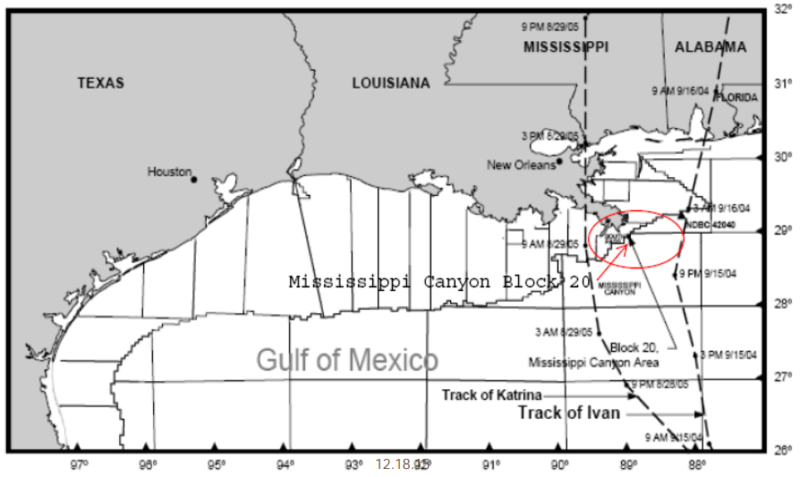 A Taylor Energy well southeast of the mouth of the Mississippi River has been leaking for over a decade.