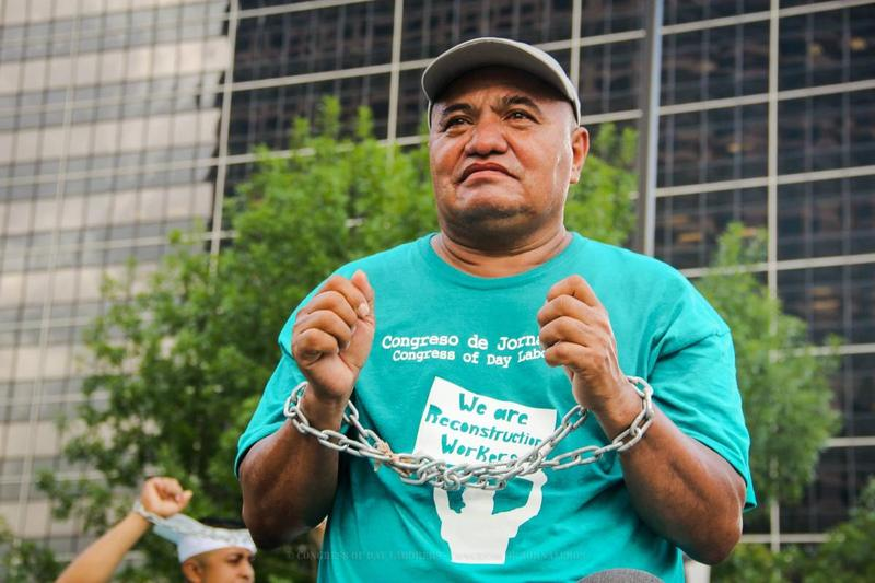 Santos Alvarado at a demonstration in front of City Hall last summer.