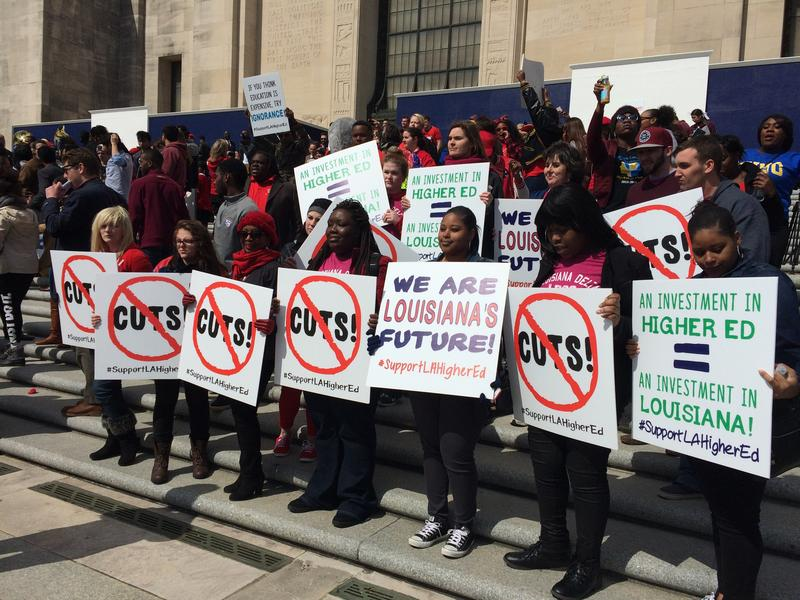 Students on the steps of the Louisiana state capitol.