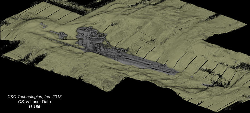 A 3D laser scan of the stern section of a German U-boat that sunk in the Gulf of Mexico during World War II. The scan shows the U-boat's conning tower and the build-up of sediments around the hull.