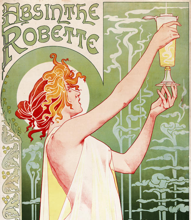 """Absinthe Robette"" lithograph by Henri Privat-Livemont from 1896, at the peak of absinthe's popularity."