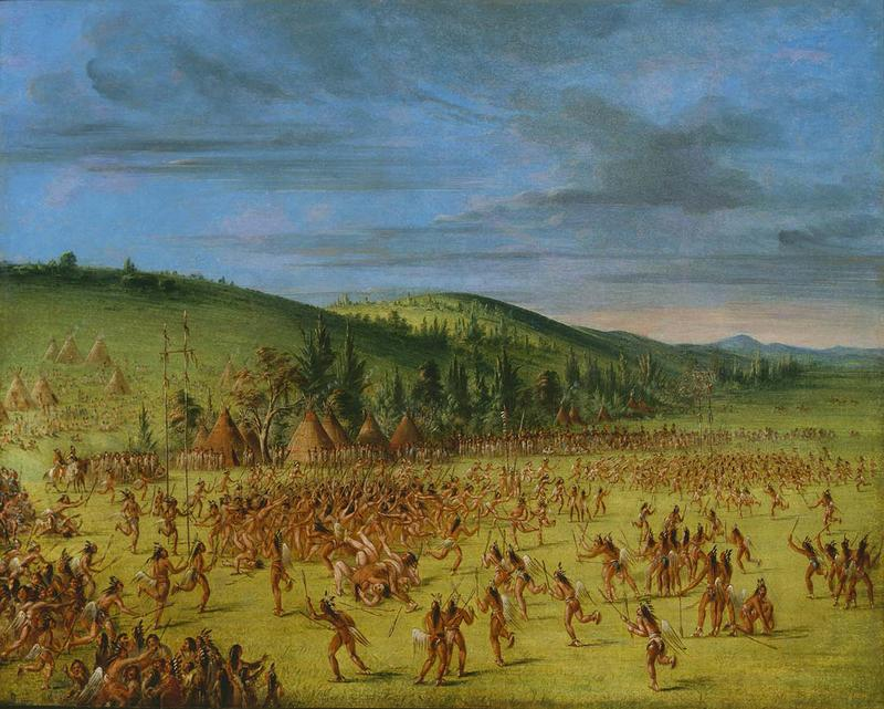 In 1834, artist George Catlin witnessed Choctaw lacrosse in Indian Territory near present-day Oklahoma.