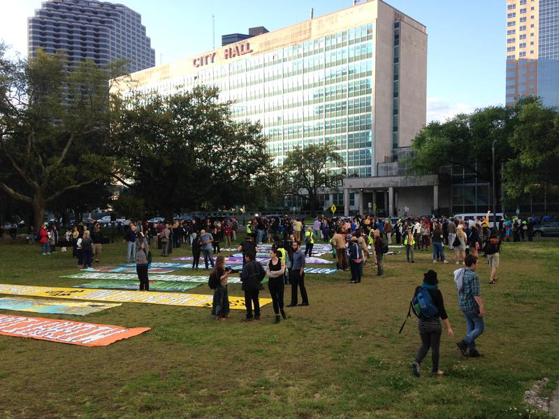 Protesters gathered at Duncan Plaza, a park near the Superdome, early Wednesday morning.