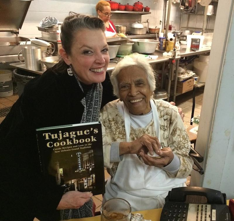 Poppy Tooker and Leah Chase in the kitchen of Dooky Chase's Restaurant