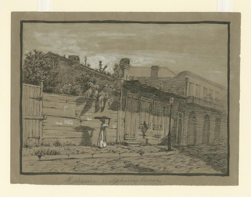 Imaginative view of Madame Delphine's House, 253 Royal Street in the Vieux Carre.