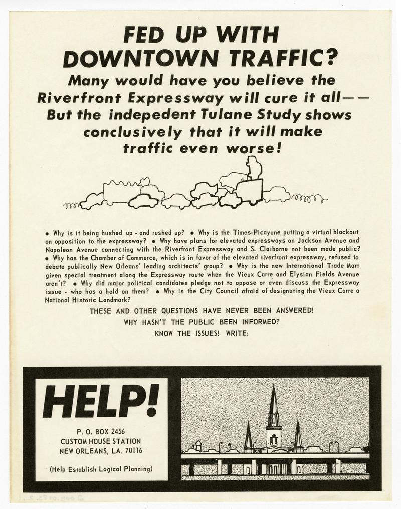 """Fed Up With Downtown Traffic"" flyer"