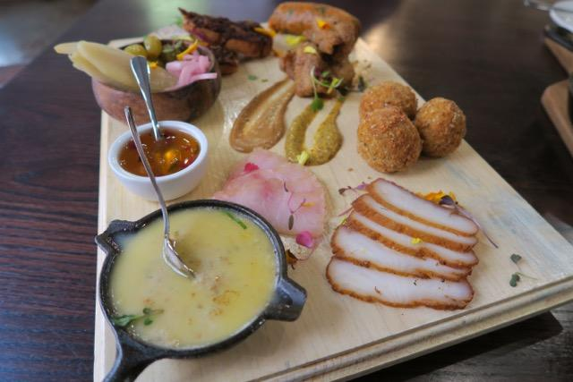 A spread of charcuterie made from seafood at Kingfish, a Cajun restaurant in the French Quarter.