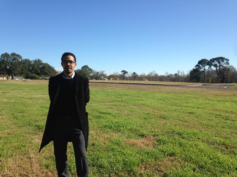 Chief resilience officer for New Orleans, Jeff Hebert, stands at the site of the future Mirabeau Water Garden. It is designed to absorb water in residential Gentilly.