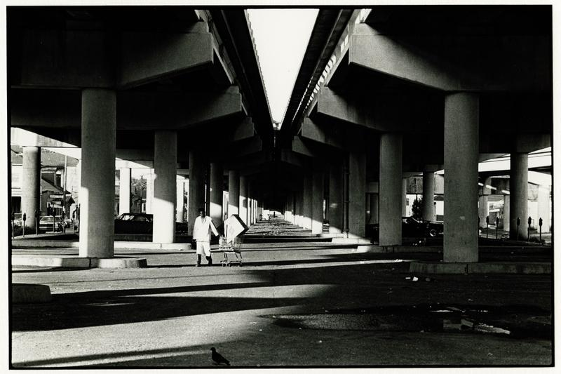 "Image created for ""The Seventh Ward Creoles of New Orleans,"" an Arts Council of New Orleans publication. View of elevated highway built on neutral ground of North Claiborne Avenue. At center, a man pulls a grocery cart."
