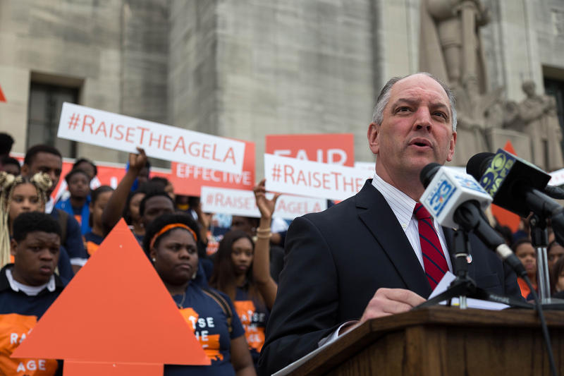 Louisiana Governor John Bel Edwards at the rally at the Capitol on Youth Justice Day.