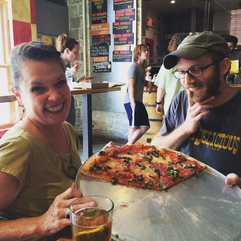 Host Poppy Tooker and Pizza Delicious co-owner Michael Friedman at the Bywater hot spot.