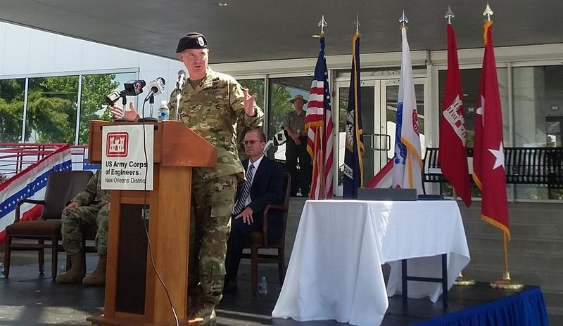Incoming  Corps of Engineers Commander Michael Clancy speaks at the formal ceremony.