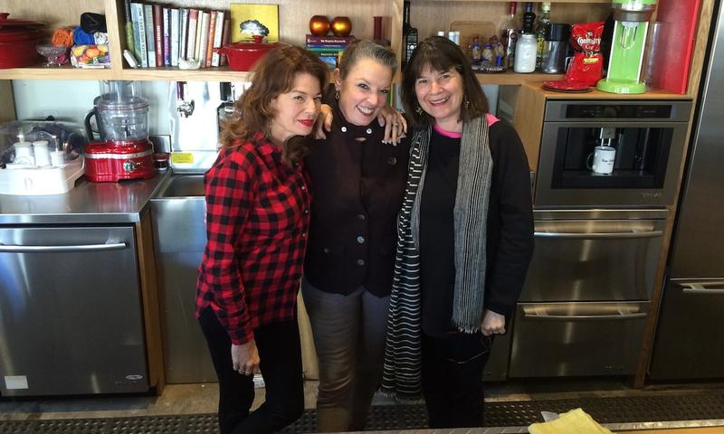Host Poppy Tooker with NPR's Kitchen Sisters Davia Nelson, left, and Nikki Silva, right.