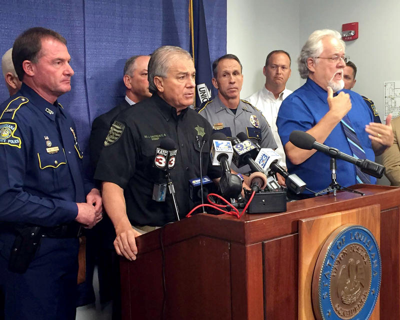 Sid Gautreaux, Sheriff of East Baton Rouge Parish. Gautreaux was joined by other law enforcement leaders and Gov. John Bel Edwards to answer media questions on the continuing protests in Baton Rouge.