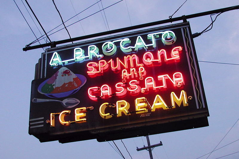 Angelo Brocato's neon sign on N. Carrollton Avenue has been a neighborhood fixture since the late 1970's.