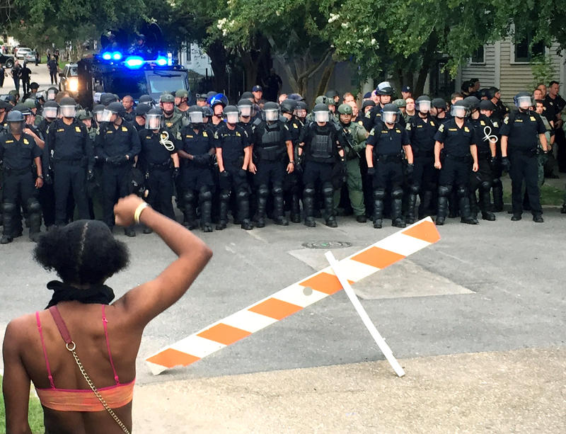 Police responded to Baton Rouge street protests en masse on July 10.