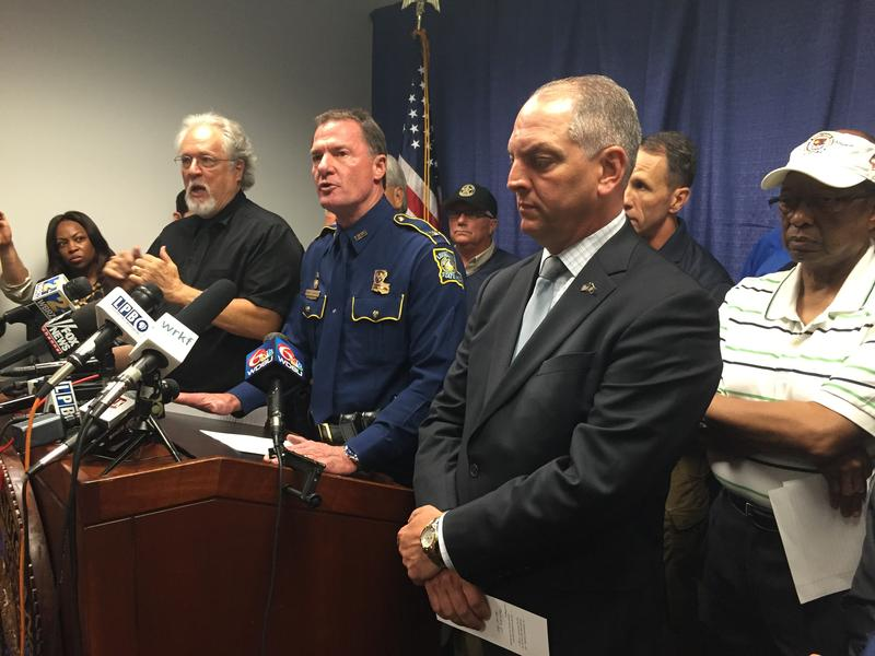 Louisiana State Police Superintendent Mike Edmonson, along with Gov. John Bel Edwards and Baton Rouge Mayor-President Kip Holden, update the media Sunday afternoon.