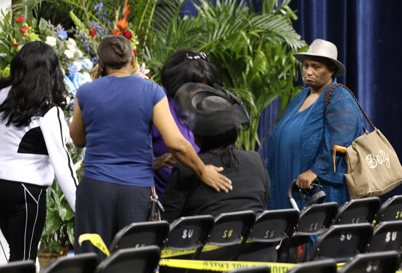 Mourners gather at Southern University for the viewing and funeral of Alton Sterling. The 37-year-old man was shot and killed by police officers July 5 in Baton Rouge.