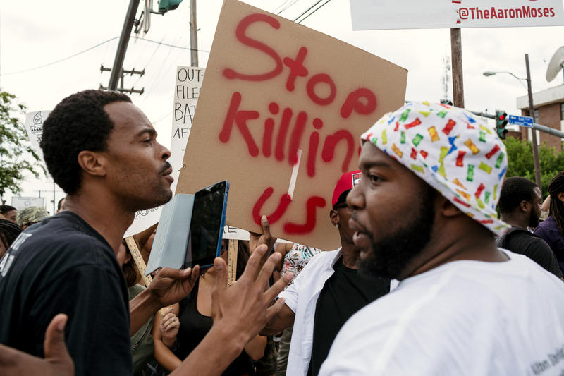 Protests continued in Baton Rouge on Sunday.