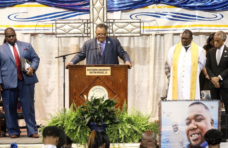 Rev. Jesse Jackson, Rev. Al Sharpton and local leaders at funeral for Alton Sterling in Baton Rouge.