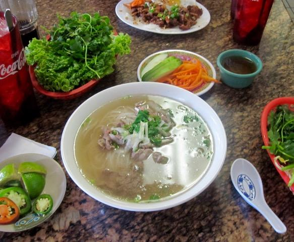 A spread of traditional Vietnamese dishes at the original Pho Tau Bay, which has now relocated to Tulane Avenue in New Orleans.