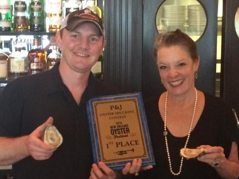 Host Poppy Tooker and 2016 Oyster Shucking Champion Jay Gallet