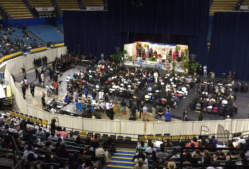 About 1,000 people are attending the funeral for Alton Sterling in Baton Rouge.