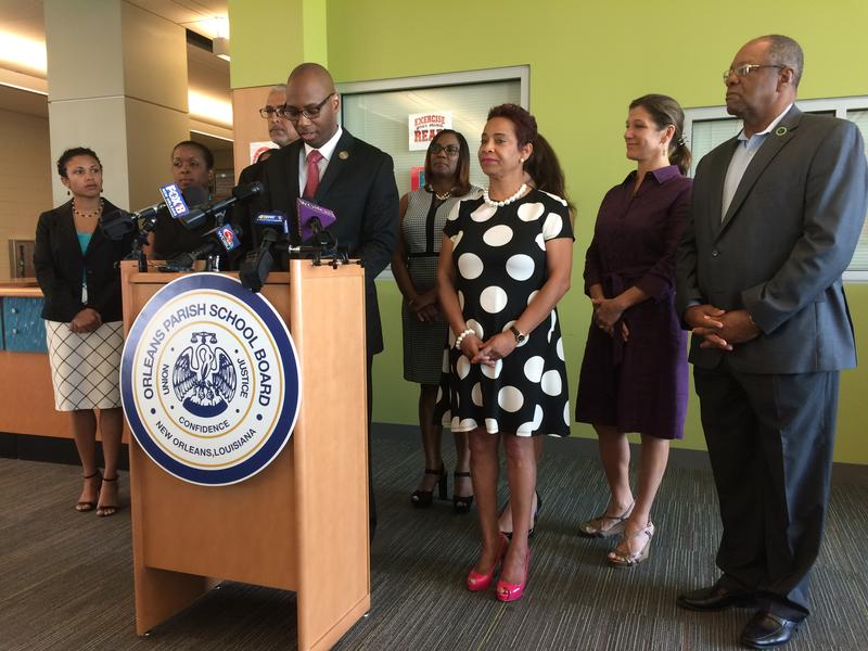 OPSB Superintendent Henderson Lewis Jr. speaks at a press conference about school unification.
