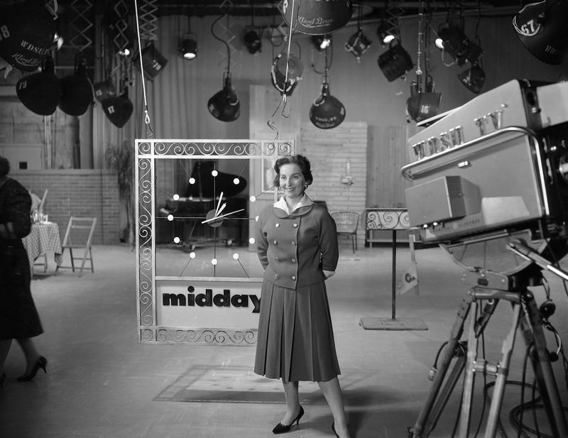 "Terry Flettrich Rohe on the set of WDSU's ""Midday"" show, a popular news-talk program, which she produced and hosted."