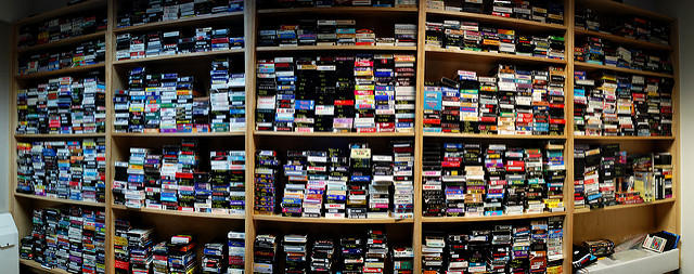 Wall of VHS tapes