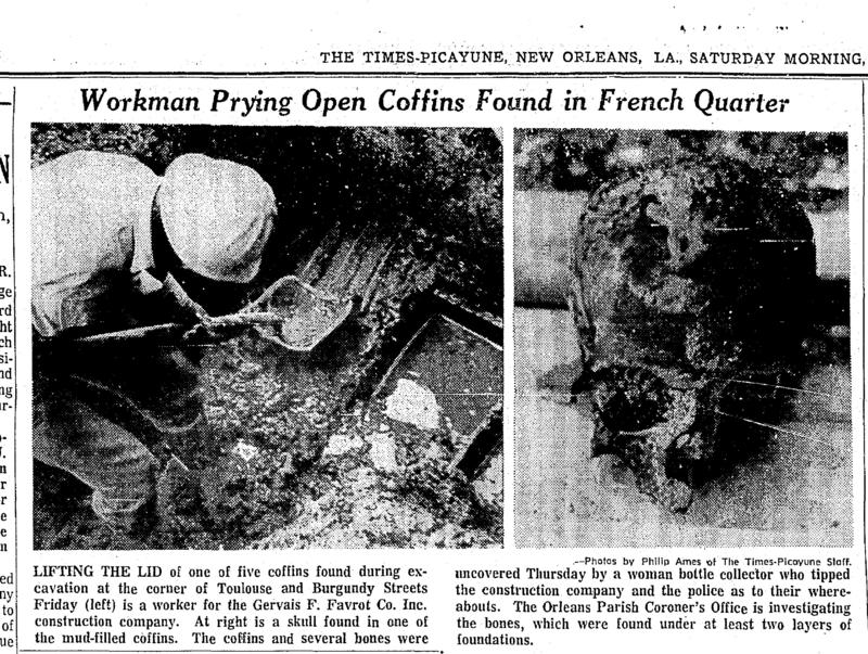 A 1972 Times-Picayune article detailing the discovery of coffins buried in the French Quarter.