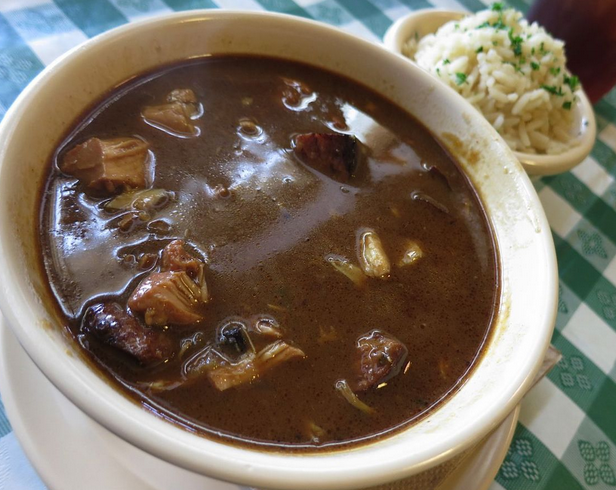 A dark roux, country style chicken and andouille gumbo from Brocato's Catering in New Orleans.