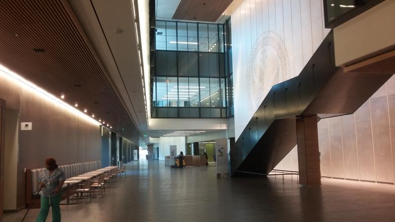 The extended lobby of the new VA hospital