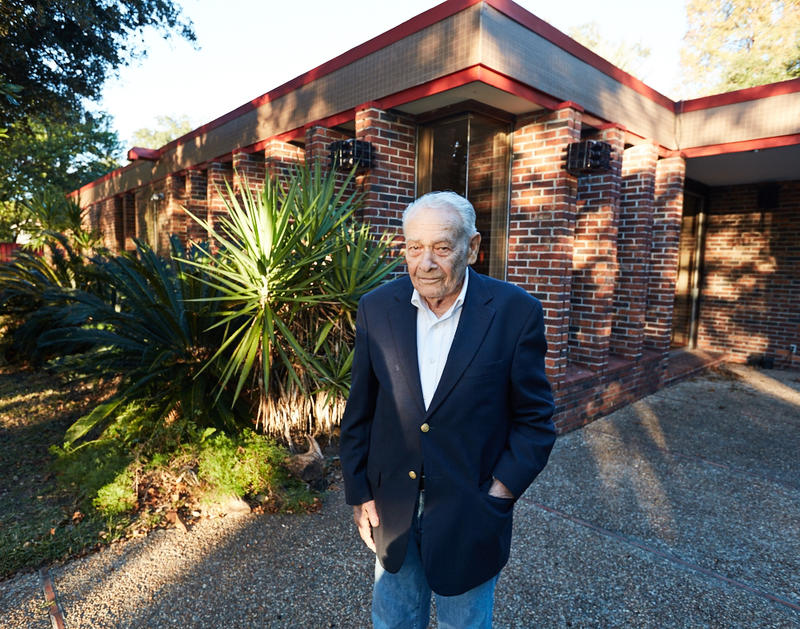 Al Ledner outside of the Cointreau home he designed out on Park Island in New Orleans.