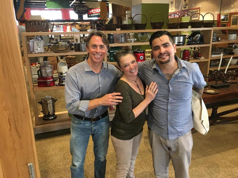Host Poppy Tooker with John Besh and Aaron SanchezC
