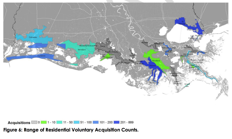 An illustration from the Draft 2017 Coastal Master Plan, showing how many residential structures may be eligible for voluntary buyouts in specific areas.
